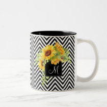Sunflowers and Chevron Stripes with Monogram Two-Tone Coffee Mug