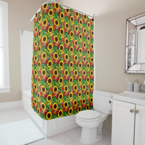 Sunflowers and Chrysanthemum Floral Pattern Shower Curtain