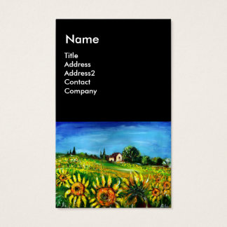 SUNFLOWERS AND COUNTRYSIDE IN TUSCANY, Black Business Card