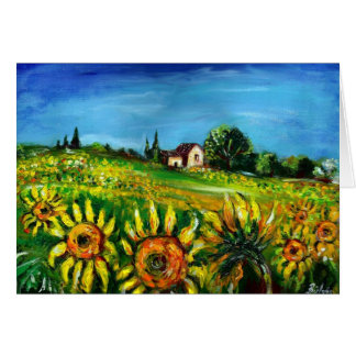 SUNFLOWERS AND COUNTRYSIDE IN TUSCANY GREETING CARD