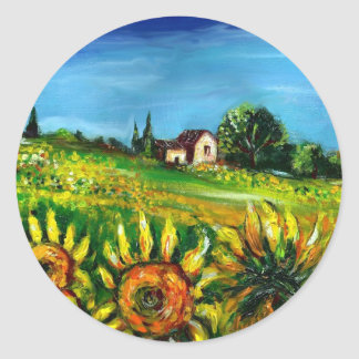 SUNFLOWERS AND COUNTRYSIDE IN TUSCANY CLASSIC ROUND STICKER