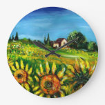 SUNFLOWERS AND COUNTRYSIDE IN TUSCANY CLOCK