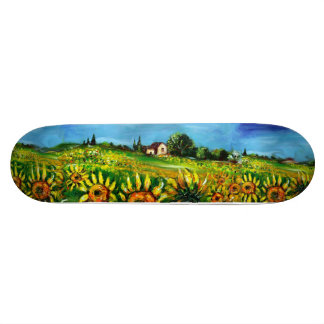 SUNFLOWERS AND COUNTRYSIDE IN TUSCANY, green Skateboard Deck