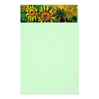 SUNFLOWERS AND COUNTRYSIDE IN TUSCANY, green Stationery