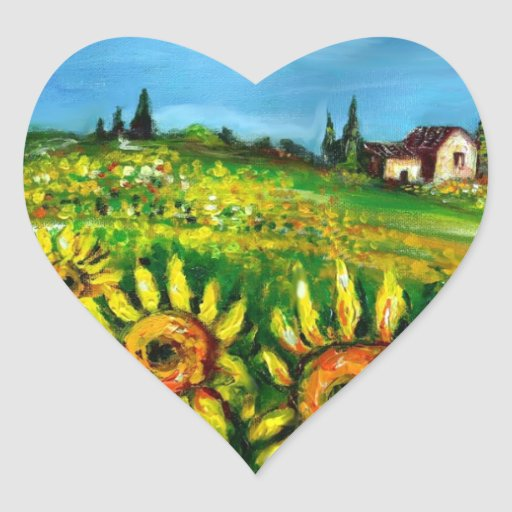 SUNFLOWERS AND COUNTRYSIDE IN TUSCANY,heart Heart Sticker