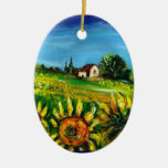 SUNFLOWERS AND COUNTRYSIDE IN TUSCANY Heart Christmas Tree Ornaments