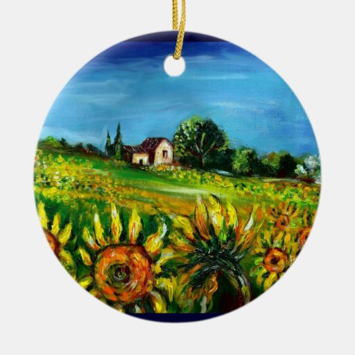 SUNFLOWERS AND COUNTRYSIDE IN TUSCANY Heart Christmas Ornaments