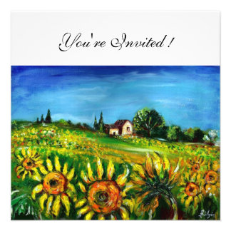 SUNFLOWERS AND COUNTRYSIDE IN TUSCANY CUSTOM INVITATIONS