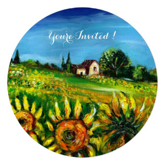 SUNFLOWERS AND COUNTRYSIDE IN TUSCANY PERSONALIZED ANNOUNCEMENT