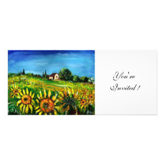 SUNFLOWERS AND COUNTRYSIDE IN TUSCANY CUSTOM INVITATION