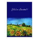 """SUNFLOWERS AND COUNTRYSIDE IN TUSCANY, 5"""" X 7"""" INVITATION CARD"""