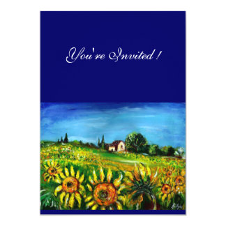 SUNFLOWERS AND COUNTRYSIDE IN TUSCANY, 5X7 PAPER INVITATION CARD