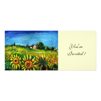 SUNFLOWERS AND COUNTRYSIDE IN TUSCANY CUSTOM INVITES