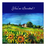SUNFLOWERS AND COUNTRYSIDE IN TUSCANY, PERSONALIZED INVITATION