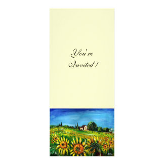 SUNFLOWERS AND COUNTRYSIDE IN TUSCANY CUSTOM ANNOUNCEMENTS