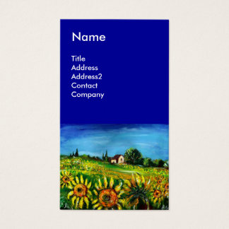 SUNFLOWERS AND COUNTRYSIDE IN TUSCANY- ITALY Blue Business Card
