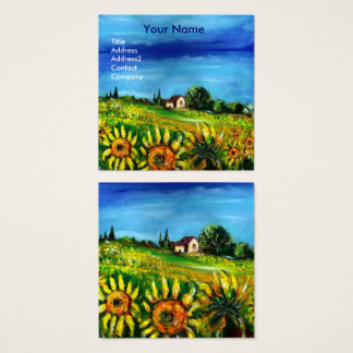 SUNFLOWERS AND COUNTRYSIDE IN TUSCANY- ITALY SQUARE BUSINESS CARD