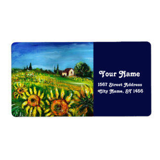 SUNFLOWERS AND COUNTRYSIDE IN TUSCANY CUSTOM SHIPPING LABEL