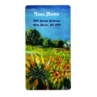 SUNFLOWERS AND COUNTRYSIDE IN TUSCANY CUSTOM SHIPPING LABELS