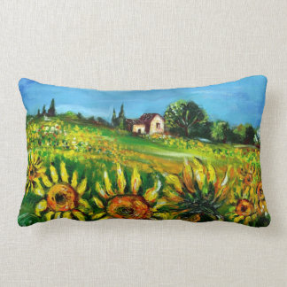 SUNFLOWERS AND COUNTRYSIDE IN TUSCANY LUMBAR PILLOW