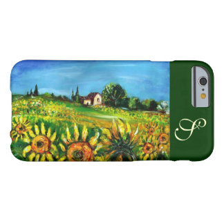 SUNFLOWERS AND COUNTRYSIDE IN TUSCANY MONOGRAM BARELY THERE iPhone 6 CASE