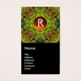 SUNFLOWERS AND COUNTRYSIDE IN TUSCANY, monogram Business Card