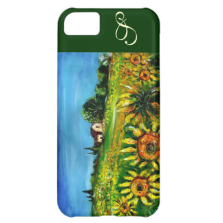 SUNFLOWERS AND COUNTRYSIDE IN TUSCANY MONOGRAM COVER FOR iPhone 5C