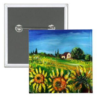 SUNFLOWERS AND COUNTRYSIDE IN TUSCANY PINBACK BUTTON