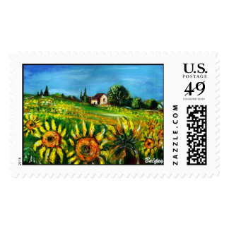 SUNFLOWERS AND COUNTRYSIDE IN TUSCANY POSTAGE