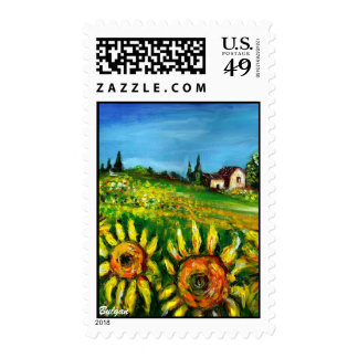 SUNFLOWERS AND COUNTRYSIDE IN TUSCANY STAMP