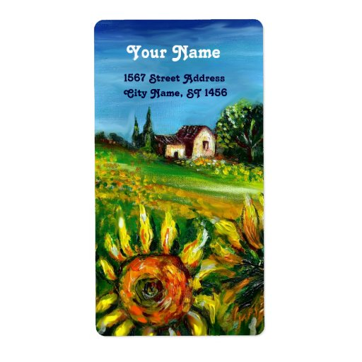 SUNFLOWERS AND COUNTRYSIDE IN TUSCANY SHIPPING LABEL