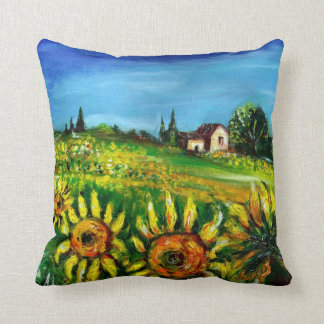 SUNFLOWERS AND COUNTRYSIDE IN TUSCANY THROW PILLOW