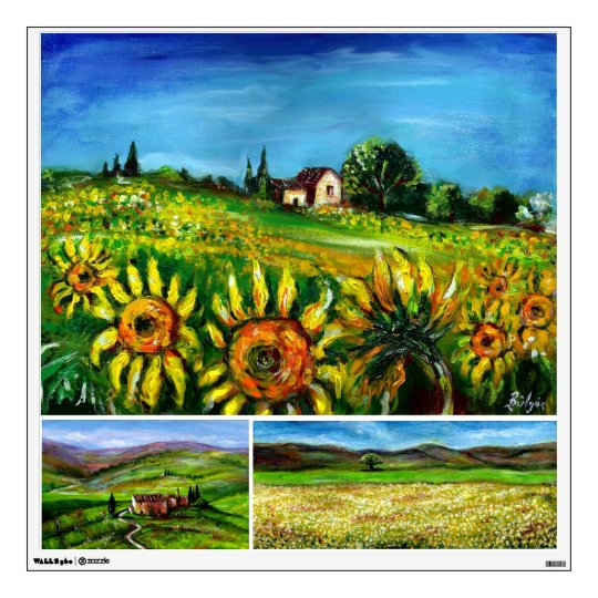 SUNFLOWERS AND COUNTRYSIDE IN TUSCANY WALL STICKER