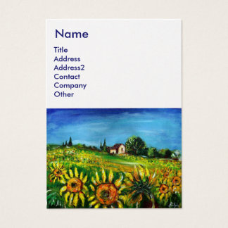 SUNFLOWERS AND COUNTRYSIDE IN TUSCANY,white pearl Business Card