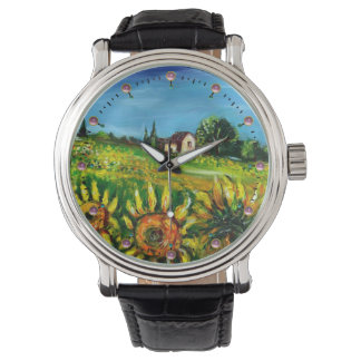 SUNFLOWERS AND COUNTRYSIDE IN TUSCANY WRIST WATCH
