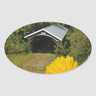 Sunflowers and Cover bridge Oval Sticker