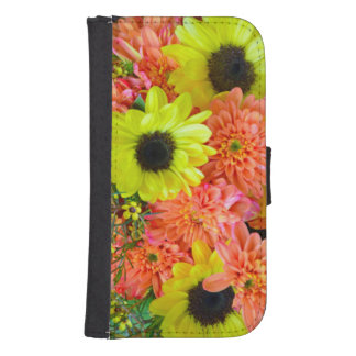 Sunflowers and dahlias iphone wallet case