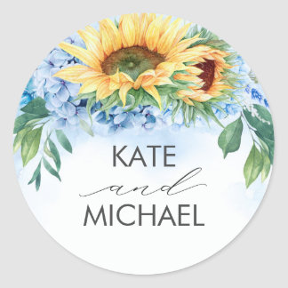 Sunflowers and Dusty Blue Hydrangea Floral Elegant Classic Round Sticker