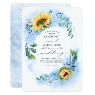 Sunflowers and Dusty Blue Hydrangea Floral Wedding Invitation