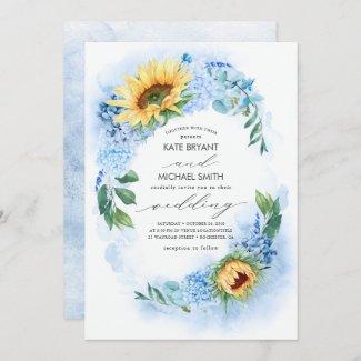 Sunflowers and Dusty Blue Hydrangea Floral Wedding Invitation
