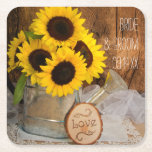 "Sunflowers and Garden Watering Can Barn Wedding Square Paper Coaster<br><div class=""desc"">Personalize the charming Sunflowers and Garden Watering Can Wedding Paper Coasters for use at your casual yet classy bridal shower, engagement party or marriage reception. These country chic custom rustic ranch style disposable coasters feature a quaint floral photograph of a bouquet of yellow sunflower blossoms in a silver metal watering...</div>"