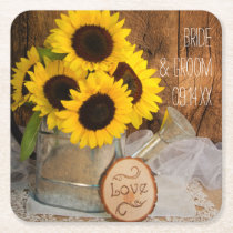 Sunflowers and Garden Watering Can Barn Wedding Square Paper Coaster