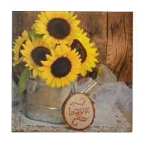 Sunflowers and Garden Watering Can Barn Wedding Tile