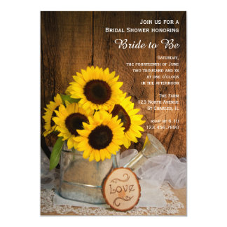 Sunflowers and Garden Watering Can Bridal Shower 5x7 Paper Invitation Card