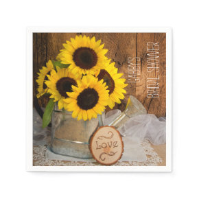 Sunflowers and Garden Watering Can Bridal Shower Standard Cocktail Napkin