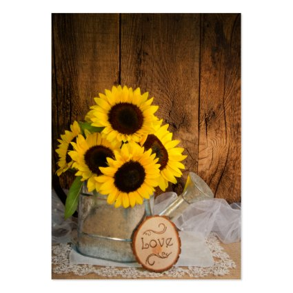 Sunflowers and Garden Watering Can Wedding Charity Business Cards