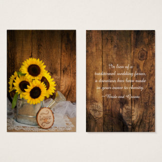 Sunflowers and Garden Watering Can Wedding Charity Business Card
