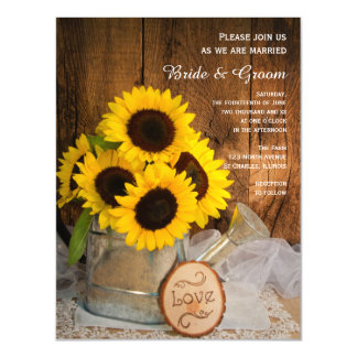 Sunflowers and Garden Watering Can Wedding Magnetic Card