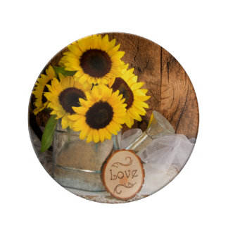 Sunflowers and Garden Watering Can Wedding Porcelain Plates