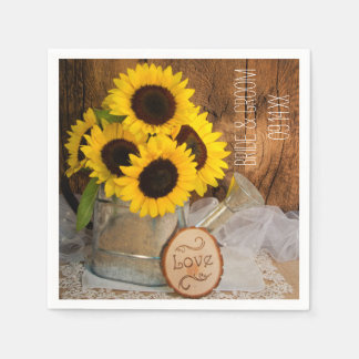 Sunflowers and Garden Watering Can Wedding Napkins Standard Cocktail Napkin
